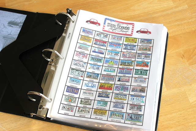 open binder with printable license plate game in page protector