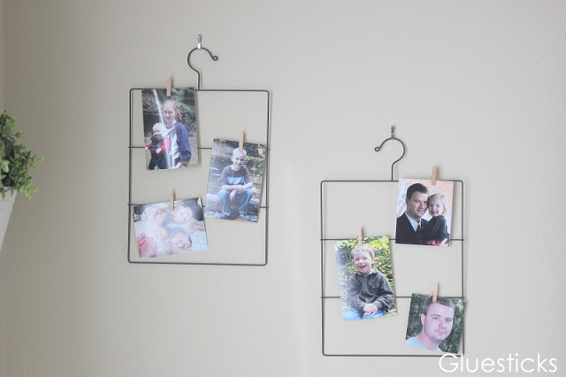 wire photo hangers on wall