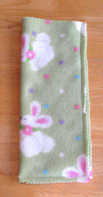 fleece fabric folded in half and stitched on 3 sides
