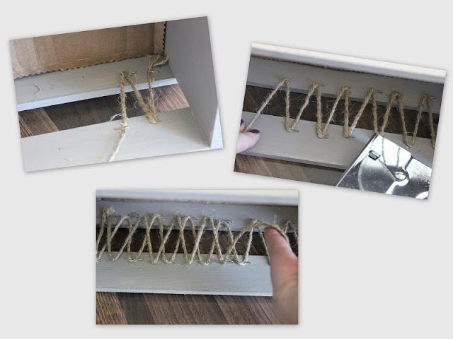 twine stapled inside crate in zig zag pattern