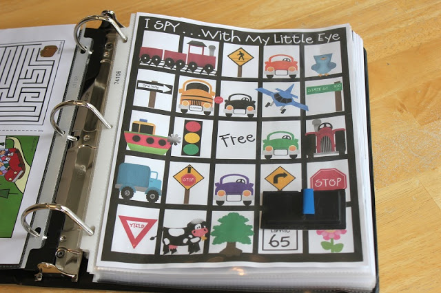 printable I SPY game in page protector