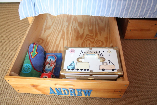 wooden drawer with the name Andrew on front