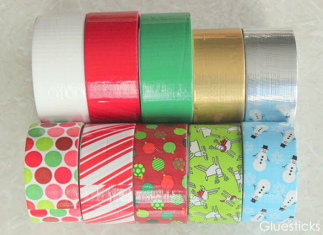 ten rolls of holiday themed duct tape