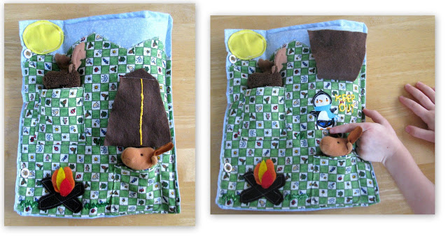 quiet book camping page with tent and finger puppets.