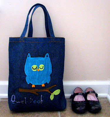 small denim tote to store quiet book