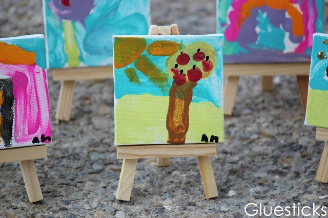 mini canvases painted by children