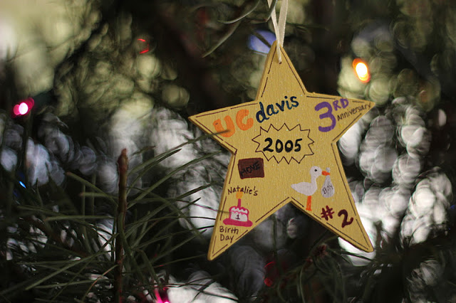 wooden star ornament painted yellow with date