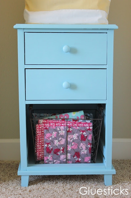 painted wooden file cabinet