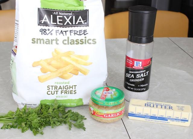 frozen fries, parsley, garlic, butter and salt