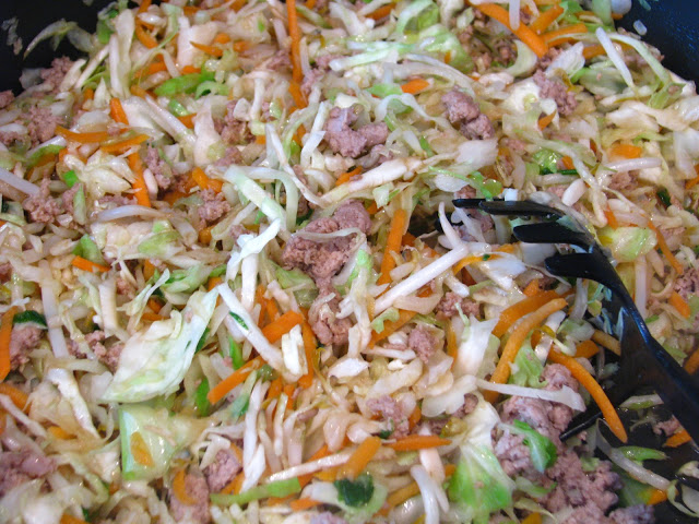 pan of egg roll filling