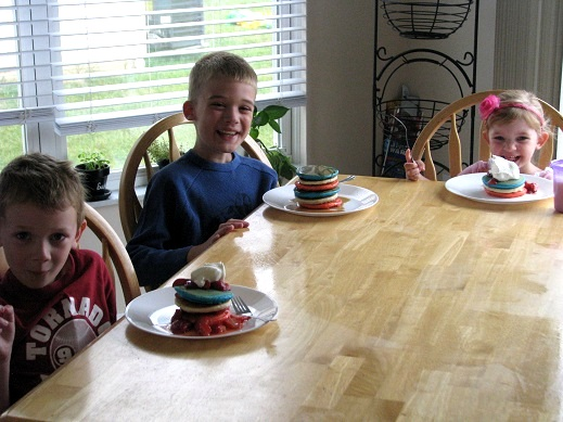 kids eating red white and blue pancakes