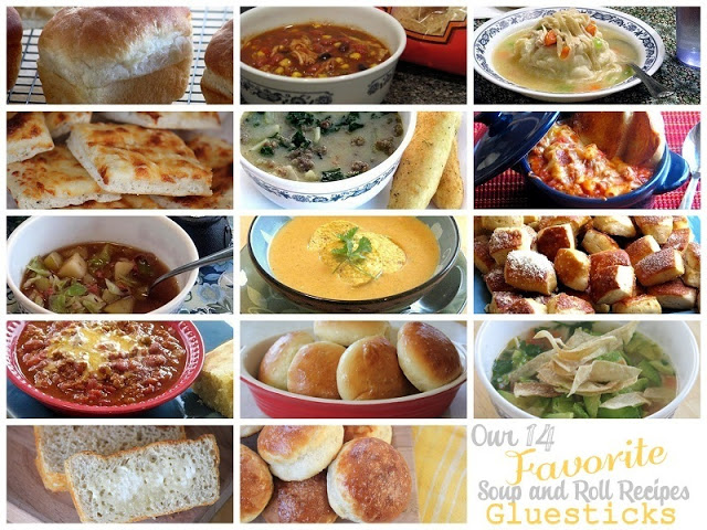 collage of soup and bread recipes