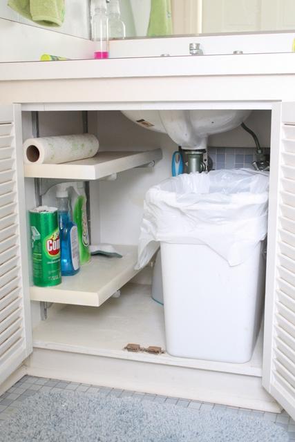 trash can under the kitchen sink