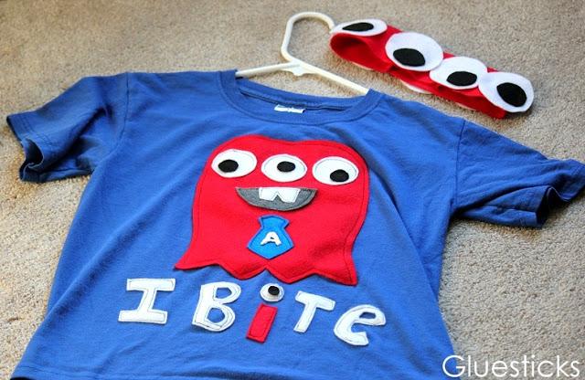 blue tshirt with felt lettering and felt monster