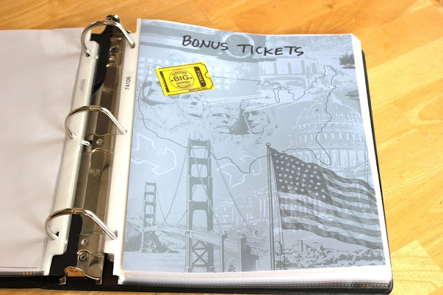 pocket for holding tickets earned on road trip