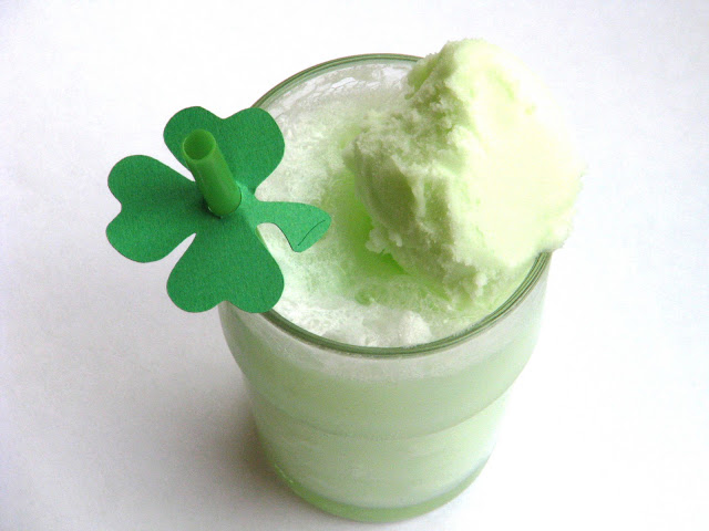 lime sherbet float in glass with shamrock straw