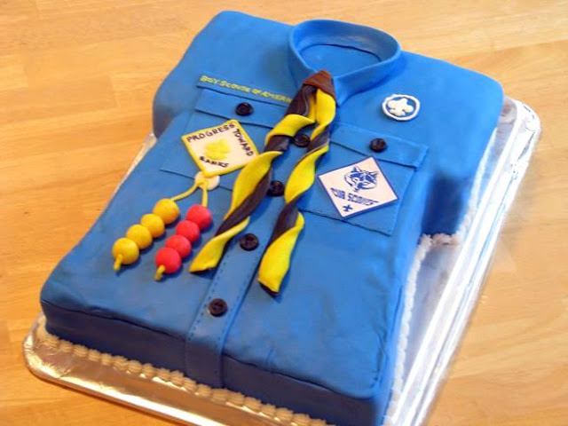 Cub Scout cake that looks like a scout shirt