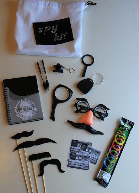 kids spy gear with white draw string bag