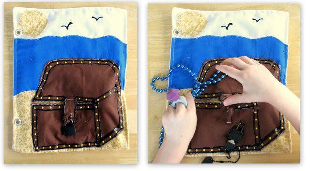 treasure chest quiet book page with flap and beaded necklaces