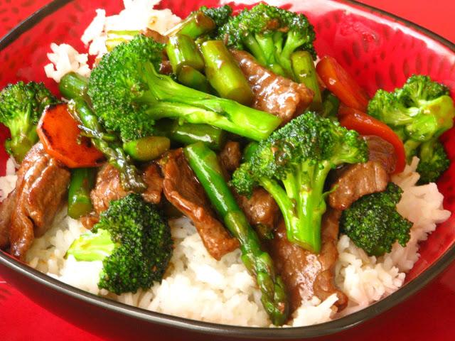 broccoli and asparagus over steak stir fry