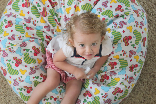 toddler on bean bag