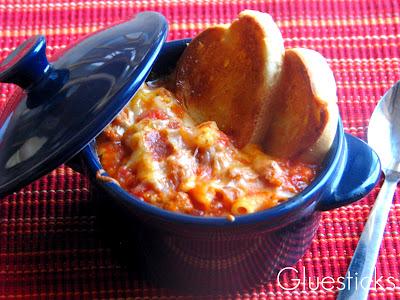 lasagna soup in blue ceramic bowl