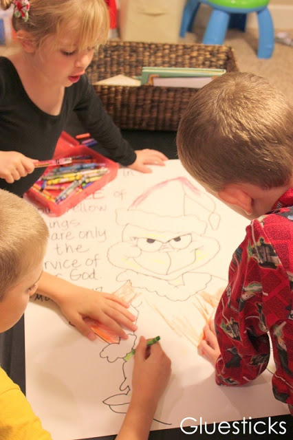 children coloring large poster of the grinch