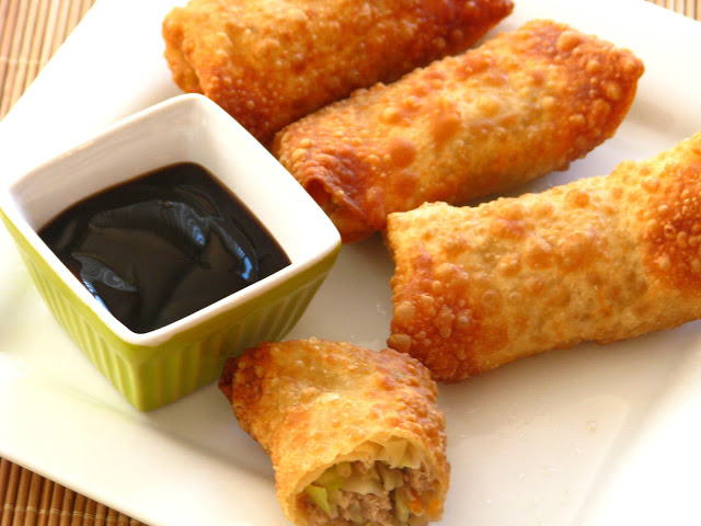 egg rolls arranged on platter