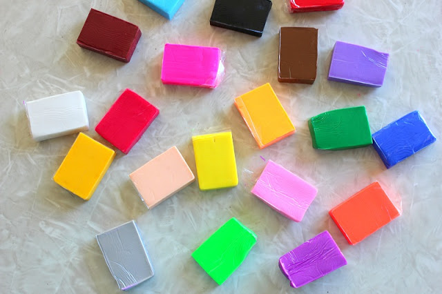 colorful blocks of polymer clay