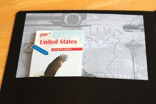 inside binder pocket with us map inside