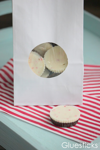 treat bag filled with peppermint cups