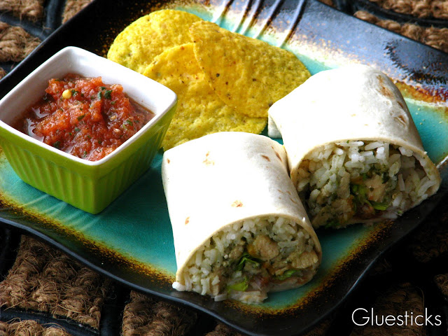 cilantro lime burritos with chips and salsa on plate