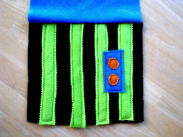 fleece handle section stitched