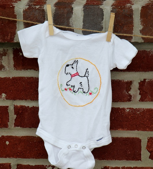 scottie dog embroidered onesie