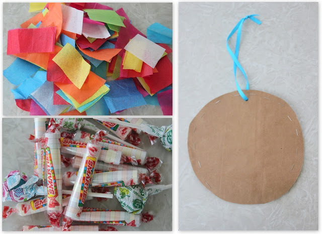 brown bag piñata, candy and tissue paper