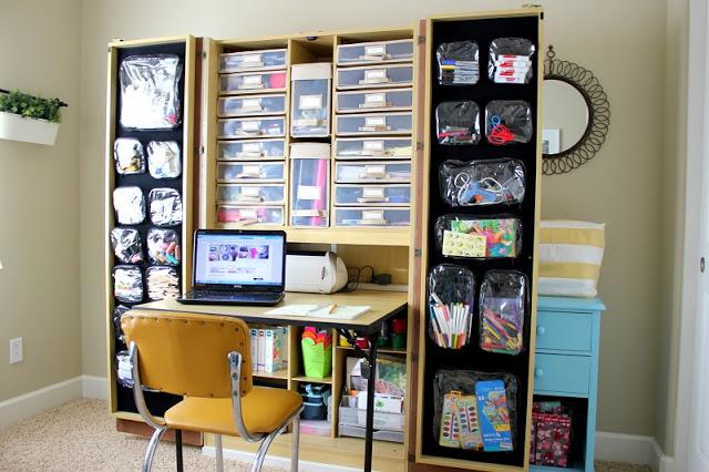 office storage closet with open doors