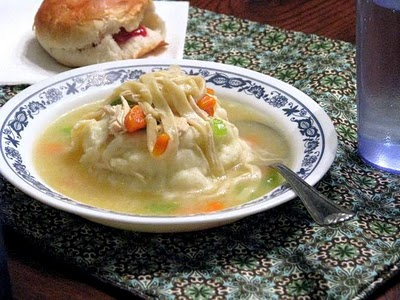 chicken soup over mashed potatoes