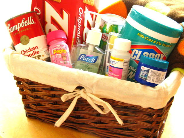 basket with cold and flu medicine and essentials