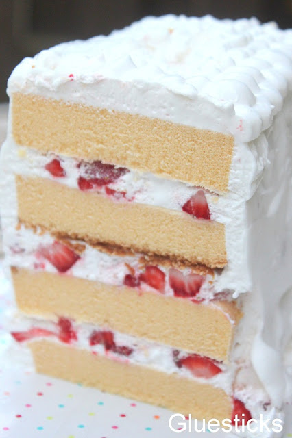 pound cake layers with strawberries and whipped cream