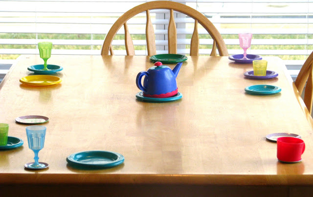 table set up for child's tea party