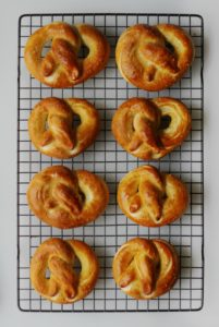 pretzels cooling on rack