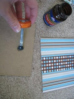 rubber cement brushed onto cardboard
