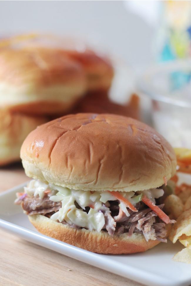 pork sandwich on plate