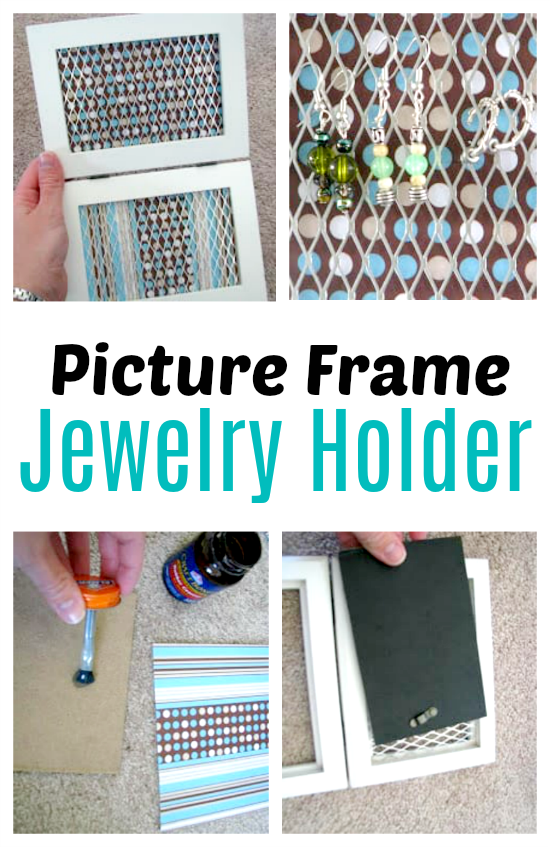 jewelry holder made out of picture frame