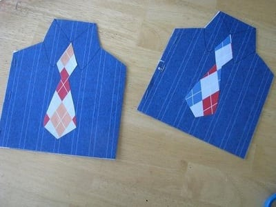 2 shirt shaped father's day cards on table