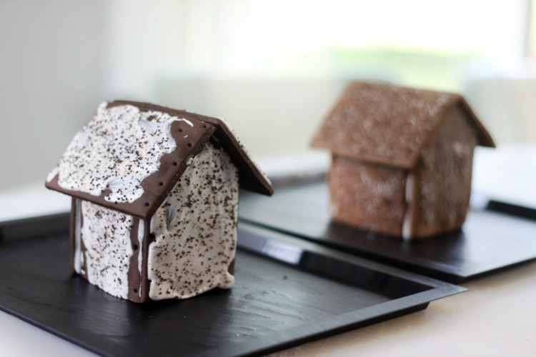 two gingerbread houses made from pop tarts