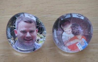 marble magnets with photos glued behind