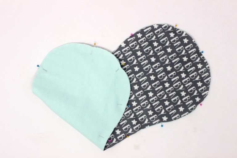 two layers of burp cloth pinned