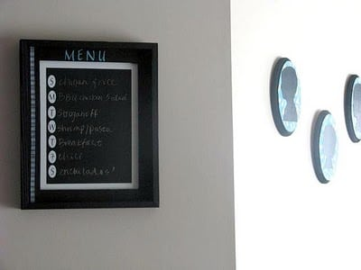 chalkboard menu frame on wall