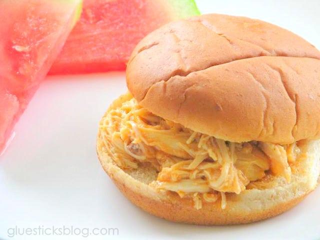 buffalo chicken sandwich on hamburger bun